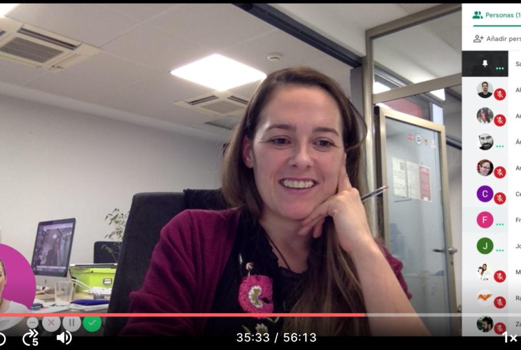 Momento de videoconferencia reunión voluntarios WordCamp Granada 2019