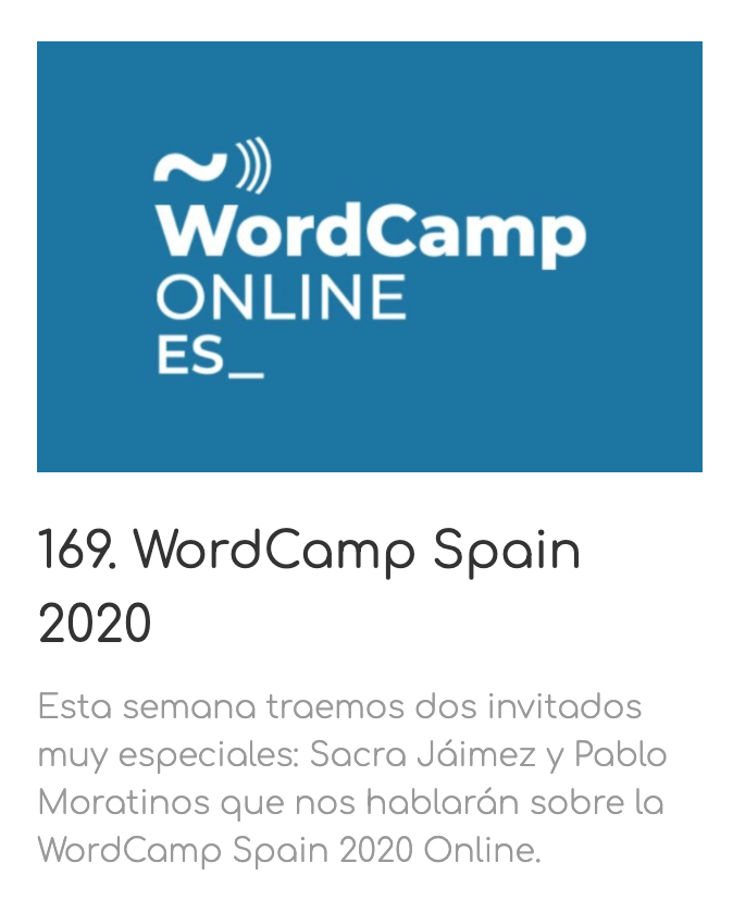 Programa de WordPress Radio sobre WordCamp España 2020.